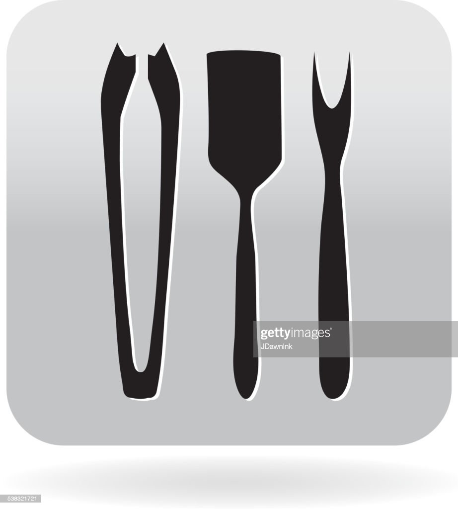 kitchen utensils silhouette vector free. Royalty Free Spatula, Prong Utensil Barbecue Icon In Grey : Vector Art Kitchen Utensils Silhouette