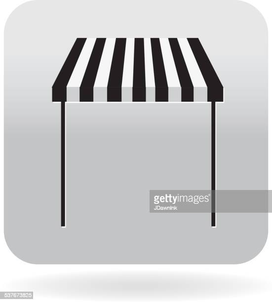 royalty free striped awning or shop front icon - awning stock illustrations, clip art, cartoons, & icons
