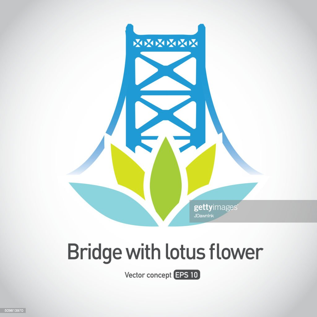 Royalty free suspension bridge with lotus flower symbol icon concept royalty free suspension bridge with lotus flower symbol icon concept vector art izmirmasajfo