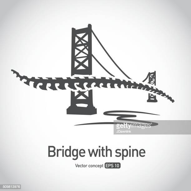 Sin royalties de puente colgante con concepto icono de la columna