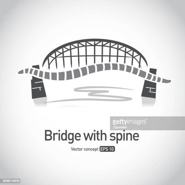 Tress sin royalties de puente con concepto iconos de la columna vertebral