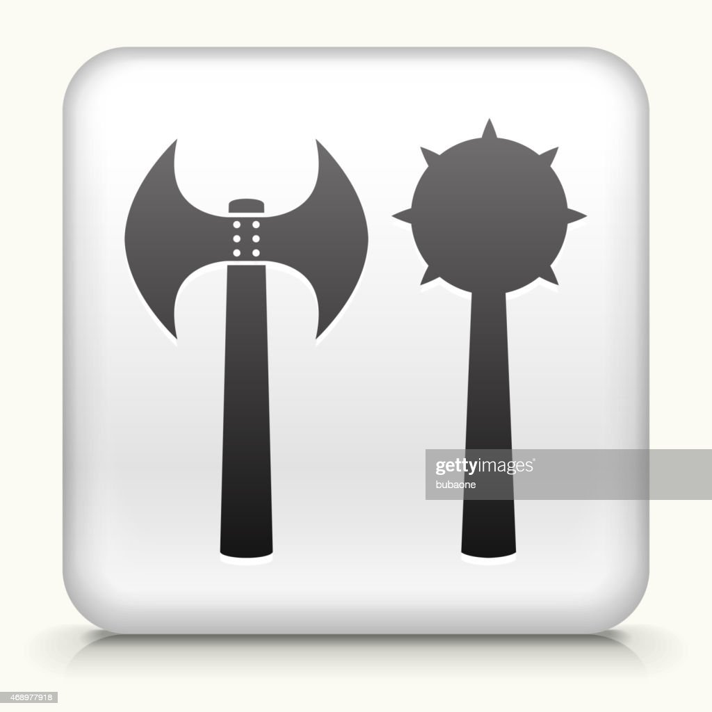 royalty free vector icon button with axe and flail weapon vector art