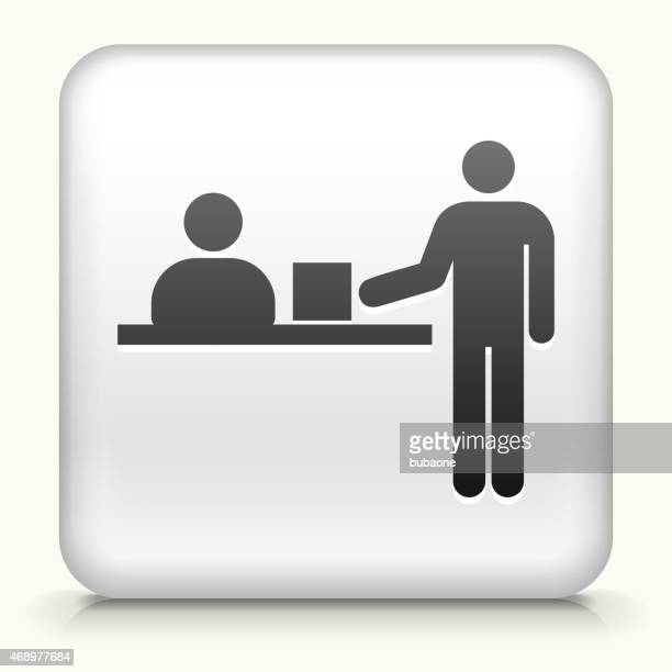 royalty free vector icon button with delivery box icon - hotel reception stock illustrations, clip art, cartoons, & icons