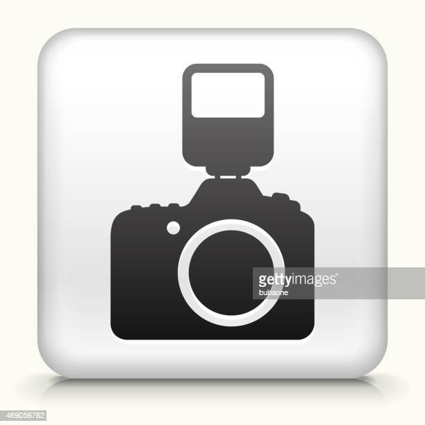 Royalty free vector icon button with DSLR Camera and Flash