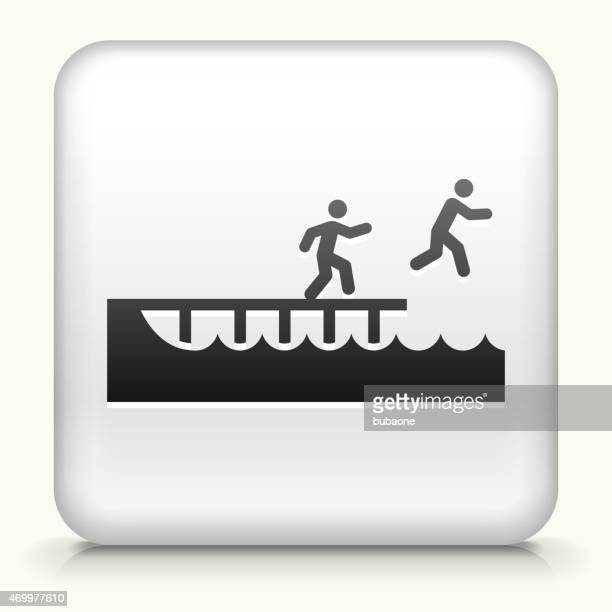 Royalty free vector icon button with Jumping to Swim
