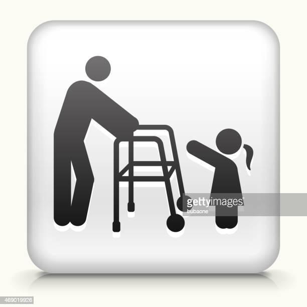 Vetor de Botão de ícones Royalty-free com velho & jovem ícone