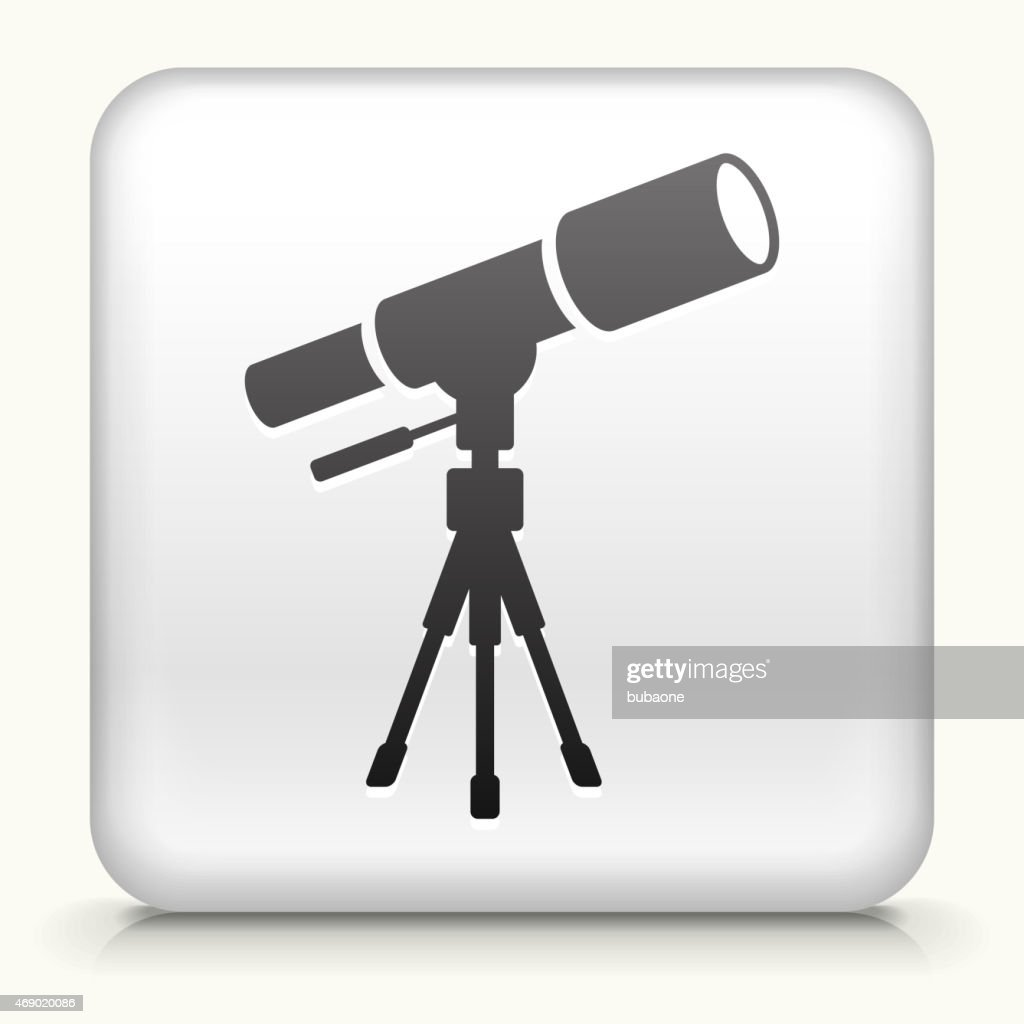 Royalty free vector icon button with Telescope on Tripod : stock illustration