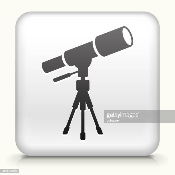 royalty free vector icon button with telescope on tripod - camera tripod stock illustrations, clip art, cartoons, & icons