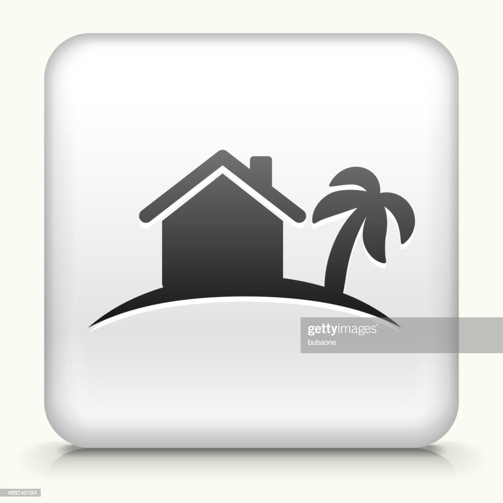 Royalty free vector icon button with Tropical Home Icon