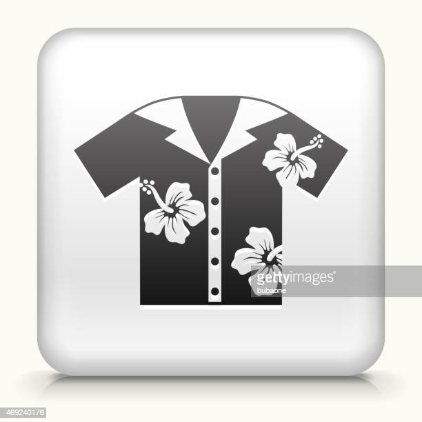 royalty free vector icon button with tropical shirt icon - hawaiian shirt stock illustrations