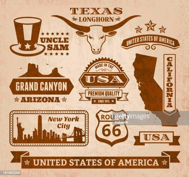 royalty free vector iconic USA Grunge Set