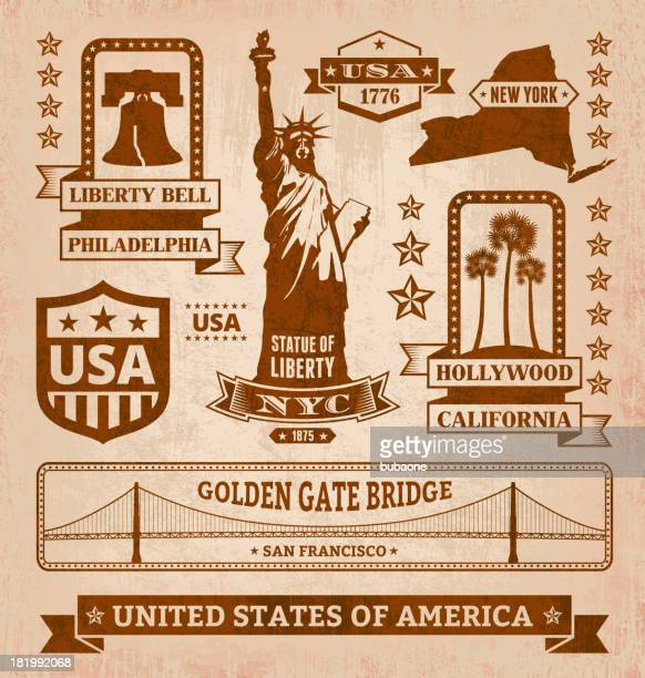 royalty free vector iconic usa grunge set - liberty bell stock illustrations