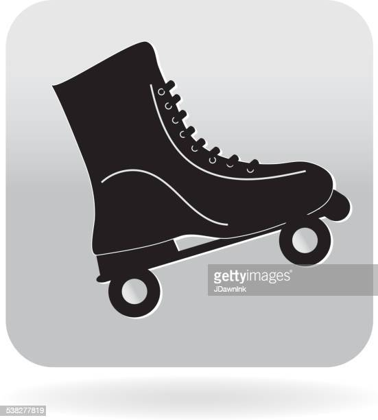 Royalty free vintage roller skate 80s icon
