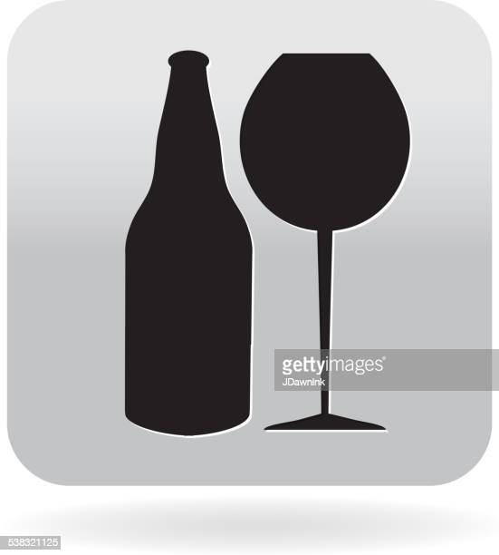 royalty free wine glass and beer bottle icon in grey - red wine stock illustrations, clip art, cartoons, & icons
