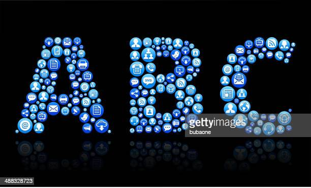 abc royalty-free vector social networking and internet icon set - abc broadcasting company stock illustrations