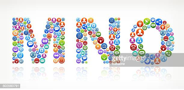 mno royalty-free vector social networking and internet icon set - abc broadcasting company stock illustrations