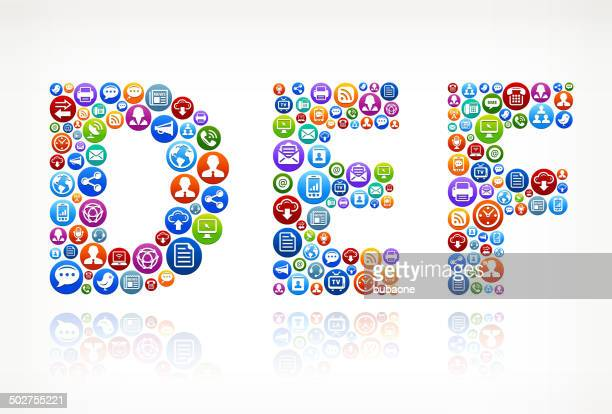 def royalty-free vector social networking and internet icon set - abc broadcasting company stock illustrations