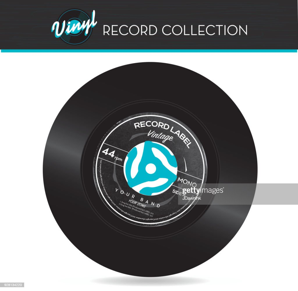 45 rpm record with adapter : stock illustration