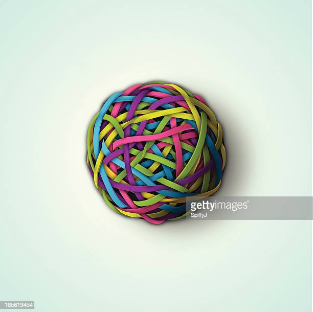 rubber band ball - desk toy stock illustrations, clip art, cartoons, & icons