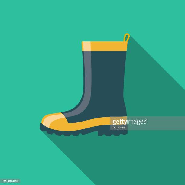 rubber boots flat design agriculture icon - rubber boot stock illustrations