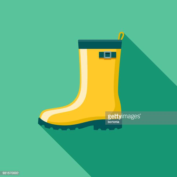 rubber boots flat design gardening icon with side shadow - rubber boot stock illustrations