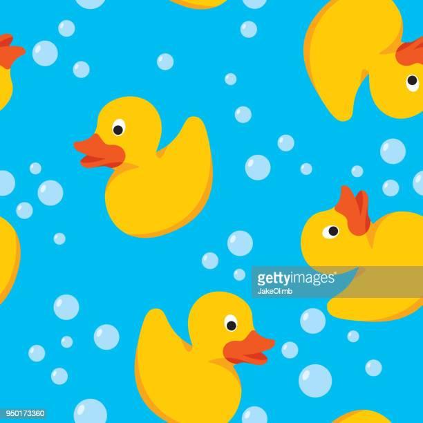 rubber duck pattern - duck stock illustrations, clip art, cartoons, & icons