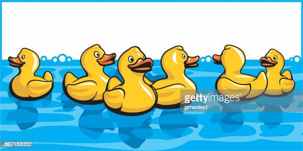 rubber ducks in the bath - duck stock illustrations, clip art, cartoons, & icons