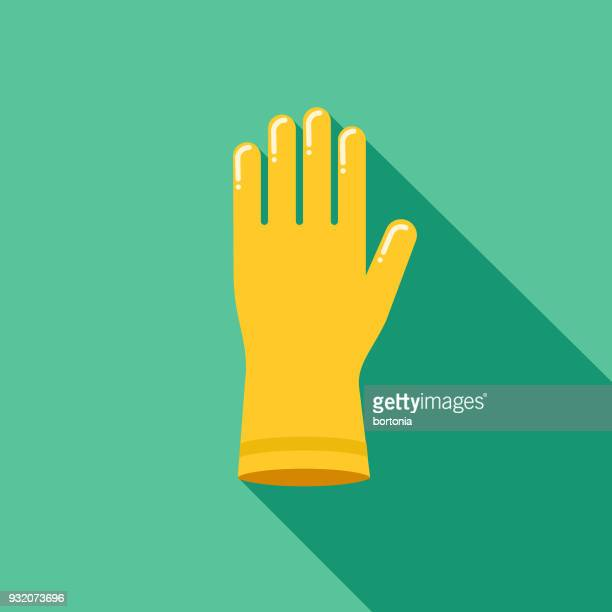 rubber glove flat design cleaning icon with side shadow - washing up glove stock illustrations, clip art, cartoons, & icons