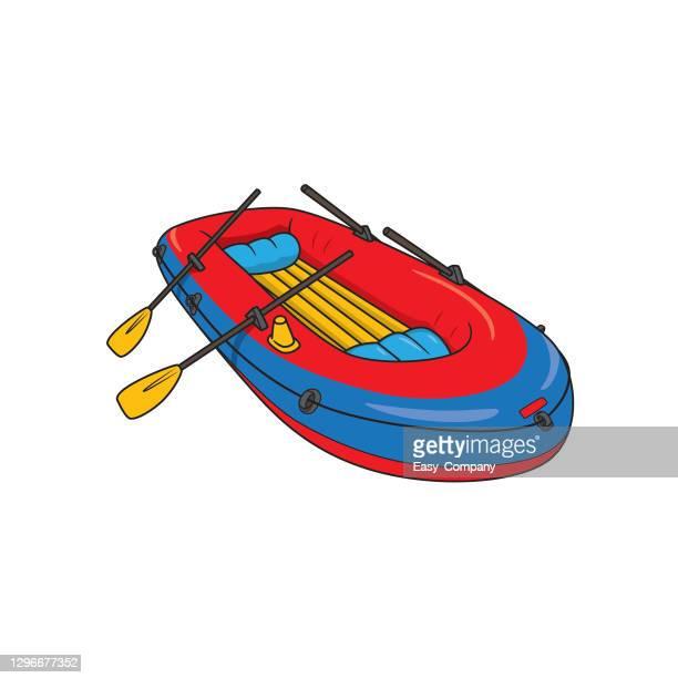 illustrations, cliparts, dessins animés et icônes de vecteur gonflable en caoutchouc de dessin animé de transport de bateau. coloré pour la page de coloriage, livre de premier mot d'enfants d'âge préscolaire. - matelas pneumatique