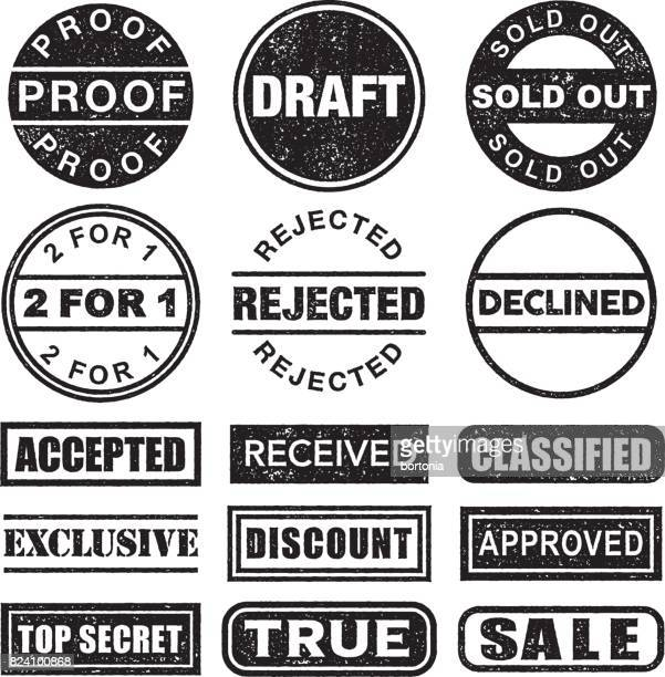 rubber stamp black and white icon set on transparent background - proofreading stock illustrations, clip art, cartoons, & icons