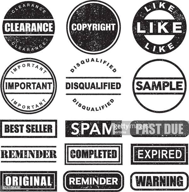 Rubber Stamp Black and White Icon Set on Transparent Background