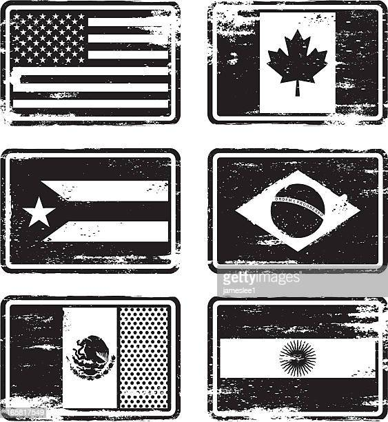 rubber stamp flags - mexico black and white stock illustrations