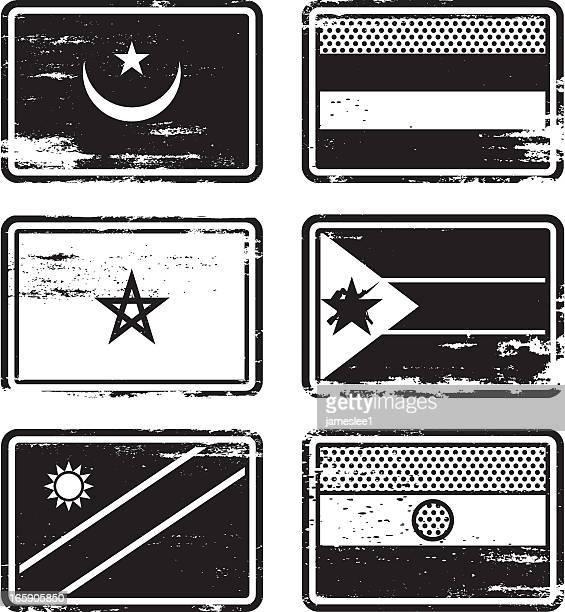 ilustrações, clipart, desenhos animados e ícones de carimbo de borracha flags - ilhas maurício