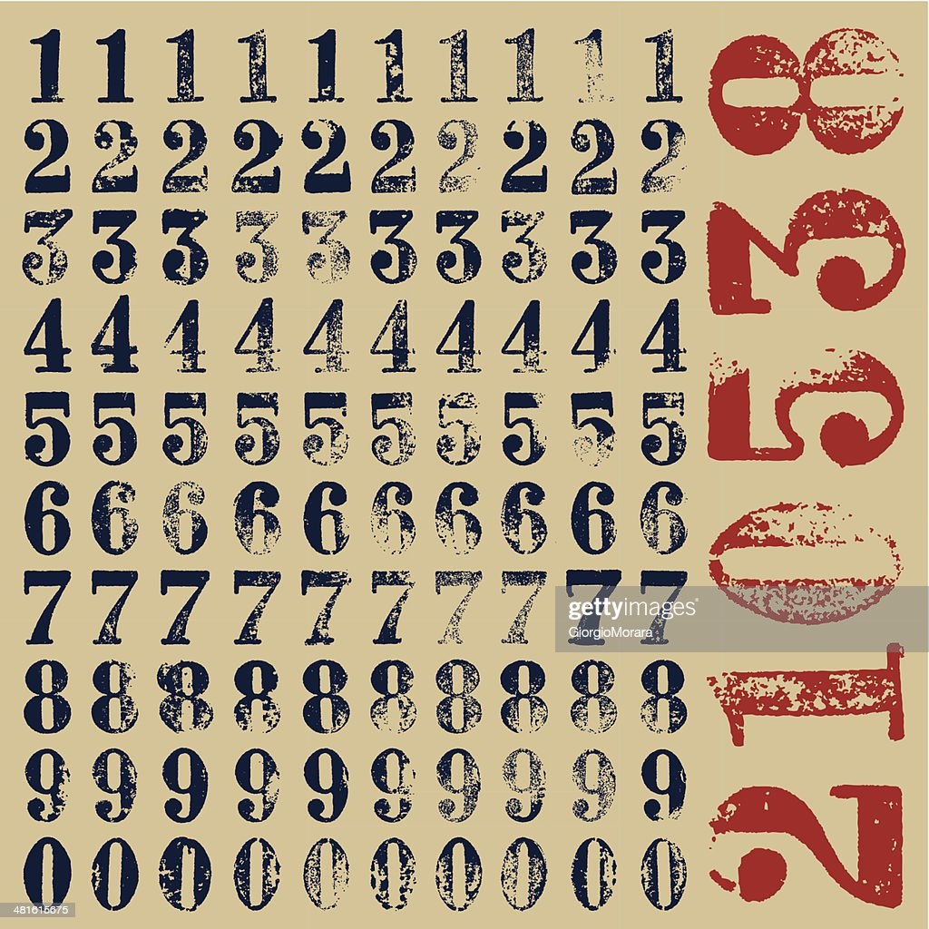 rubber stamp serif numbers
