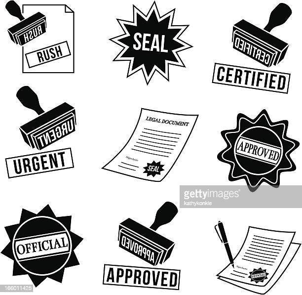 rubber stamps and seals - legal document stock illustrations, clip art, cartoons, & icons