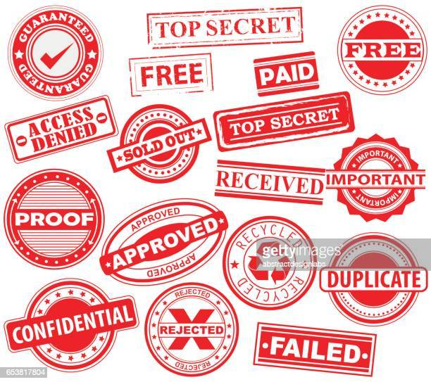 rubber stamps, badge, placard, notice, seal,  message, alert -  icon pack- illustration - receiving stock illustrations