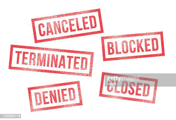 rubber stamps canceled denied closed terminated blocked - forbidden stock illustrations