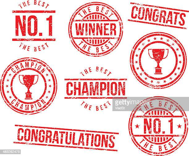 rubber stamps - champion - success stock illustrations, clip art, cartoons, & icons