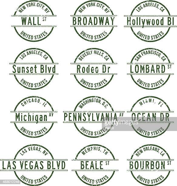 Rubber stamps - Famous streets in USA