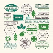 Rubber stamps set of ecology, healthy food and environment