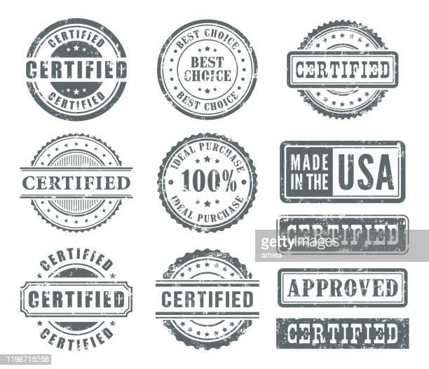 rubber stamps set - insignia stock illustrations