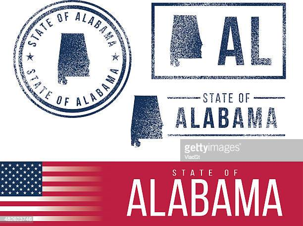 usa rubber stamps - state of alabama - alabama stock illustrations, clip art, cartoons, & icons