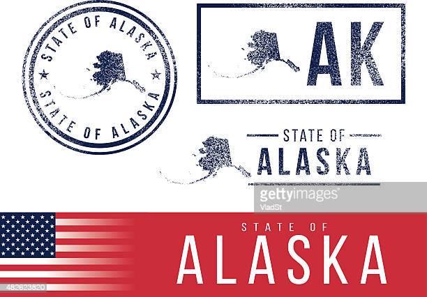 米国ラバースタンプ-ステートオブアラスカ - アラスカ点のイラスト素材/クリップアート素材/マンガ素材/アイコン素材