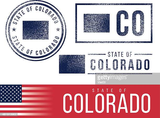 usa rubber stamps - state of colorado - colorido stock illustrations