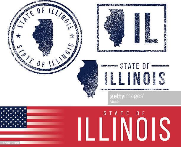 usa rubber stamps - state of illinois - illinois stock illustrations