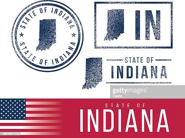 usa rubber stamps - state of indiana - indiana stock illustrations