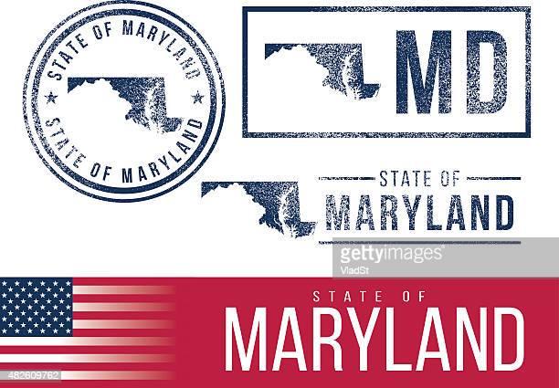 ilustraciones, imágenes clip art, dibujos animados e iconos de stock de usa sellos de goma-estado de maryland - maryland us state