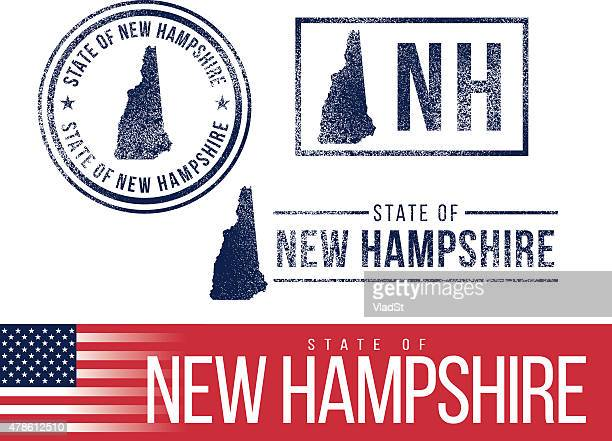 usa rubber stamps - state of new hampshire - new hampshire stock illustrations