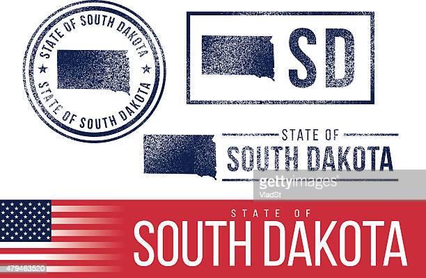 usa rubber stamps - state of south dakota - south dakota stock illustrations, clip art, cartoons, & icons