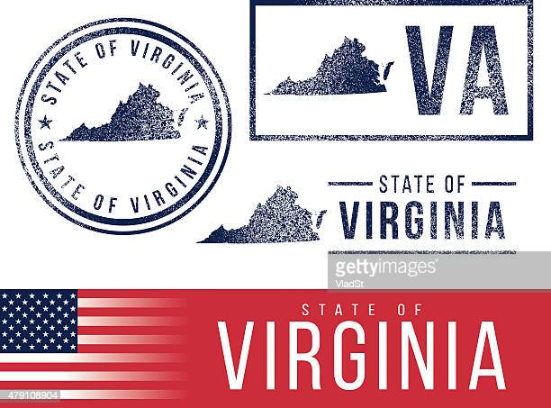 usa rubber stamps - state of virginia - virginia stock illustrations, clip art, cartoons, & icons